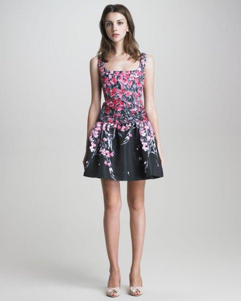 black floral square mini skater dress