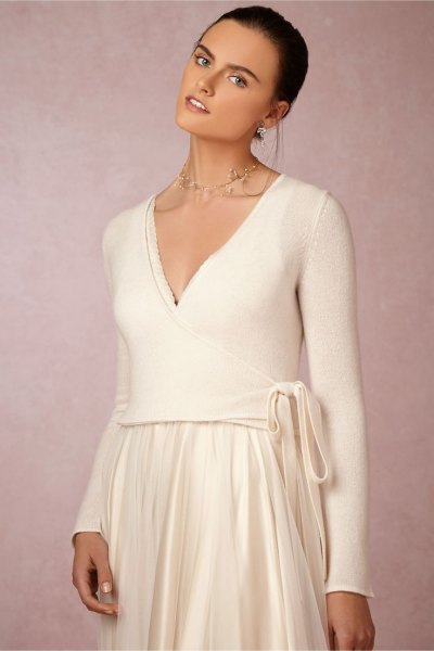 white wrap sweater pleated midi skirt