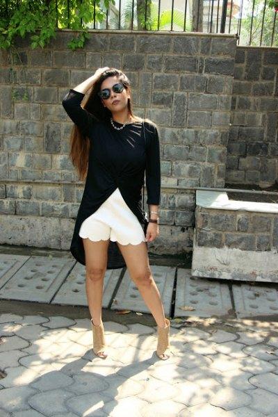 black high low white white combed mini mini shorts