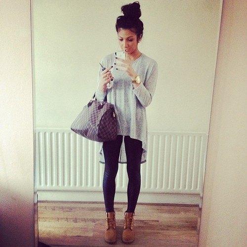 heather gray high low t-shirt black leggings