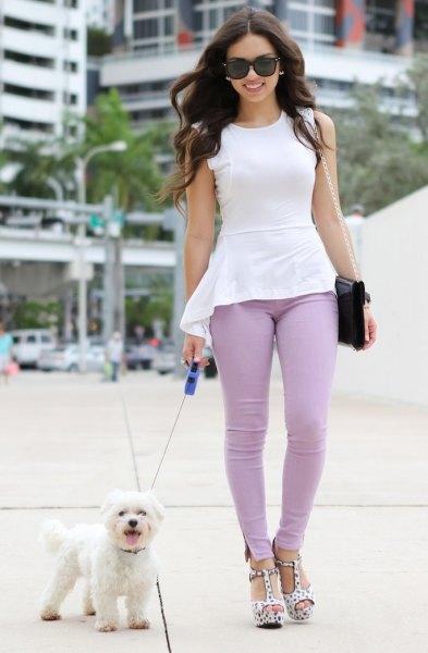 white high low peplum teal skinny pants