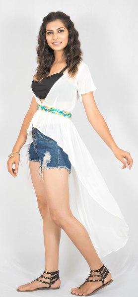 white belt chiffon with high low tops denim shorts