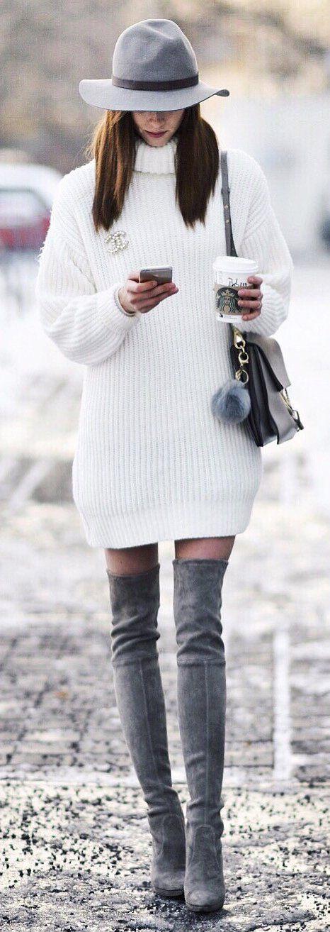 white turtleneck dress gray combo