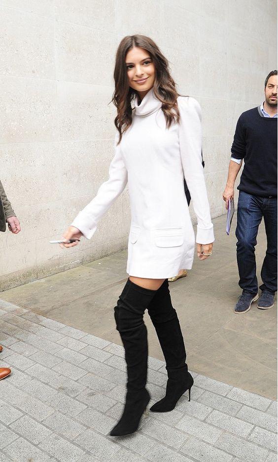 white turtleneck dress black boots