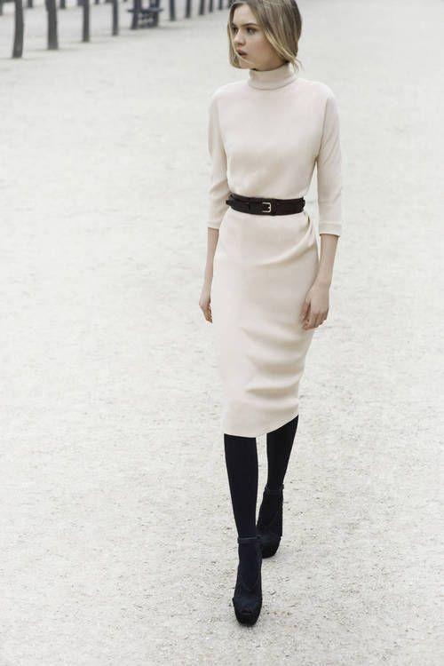 white turtleneck dress belt