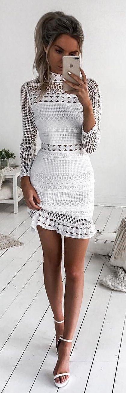 white turtleneck dress crochet