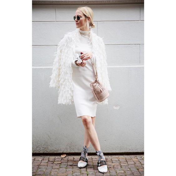 white turtleneck dress fluffy