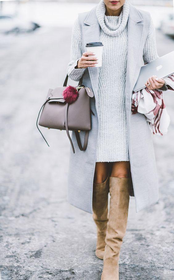 white turtleneck dress tailored vest