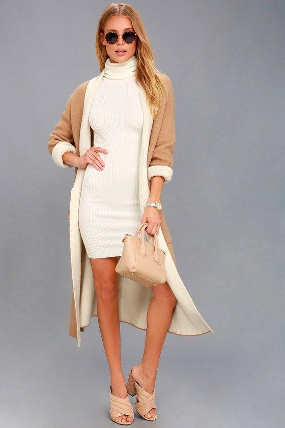 white turtleneck dress brown