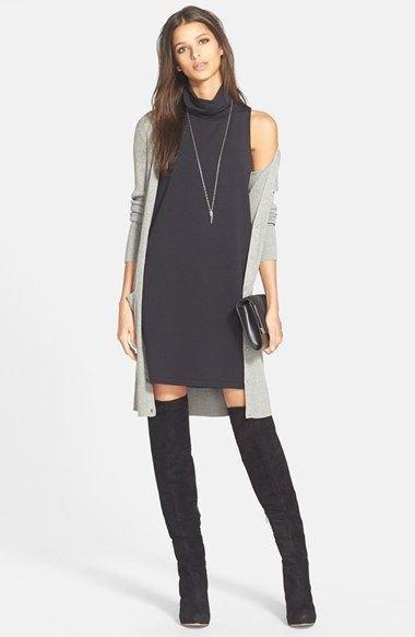 black sleeveless turtleneck dress gray cardigan