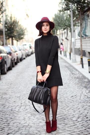 black turtleneck swing dress blanket hat