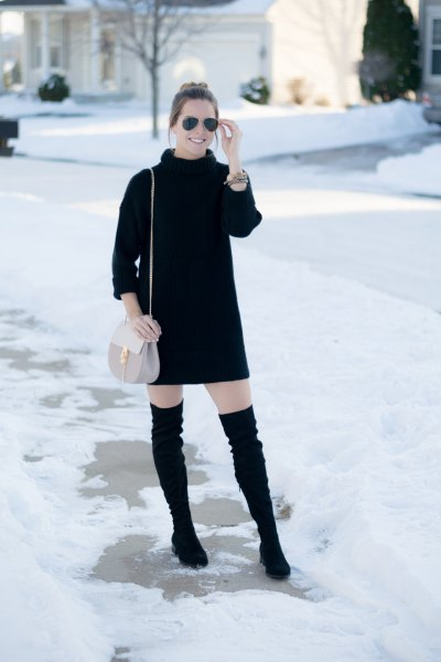 black turtleneck knitted sweater mini dress high boots