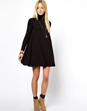 black long sleeve turtleneck swing dress camel boots