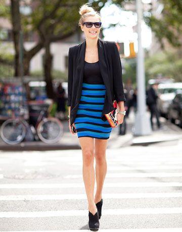 bandage skirt blue stripes