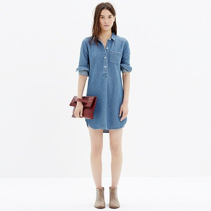 chambray pop shirt with ankle boots