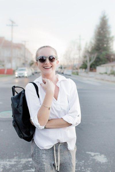 white pop shirt heather gray joggers