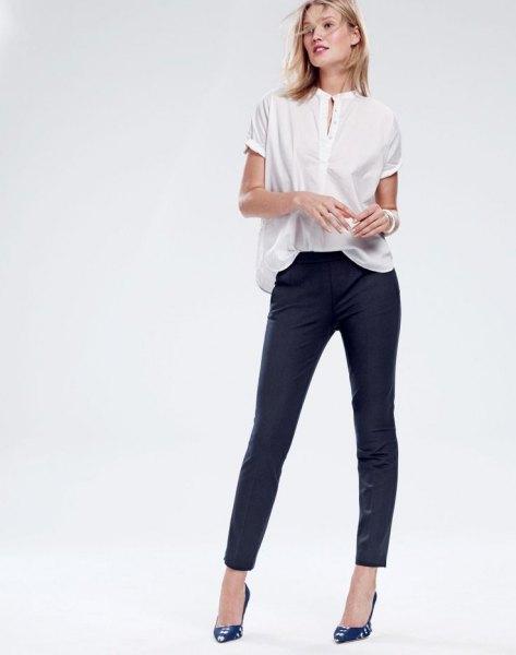 white pop shirt black skinny pants