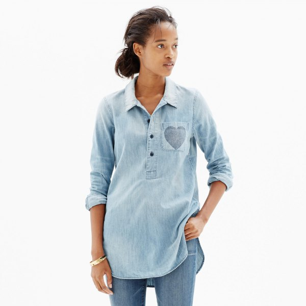 long chambray popover shirt washed blue jeans