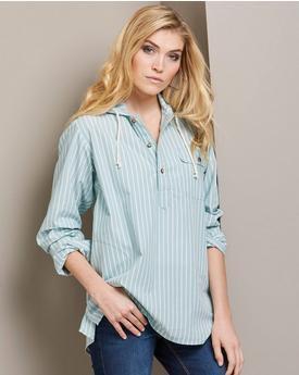light blue striped hooded pop shirt