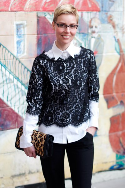 black half-heated lace blouse white button up shirt