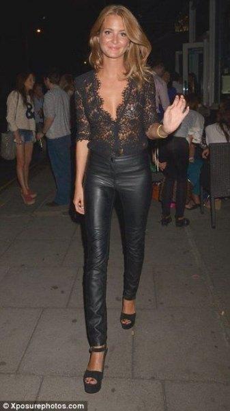 black deep v-neck half sleeve lace leather pants