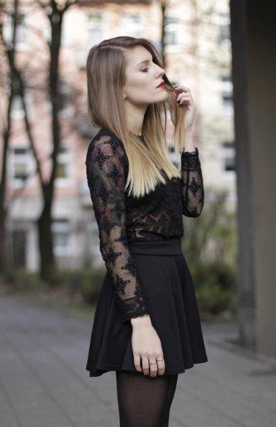 lace details for black chiffon shirt