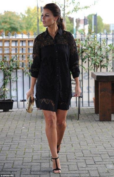 black lace button up shirt shorts