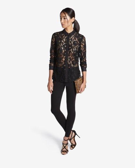 black lace button up shirt cheetah clutch bag