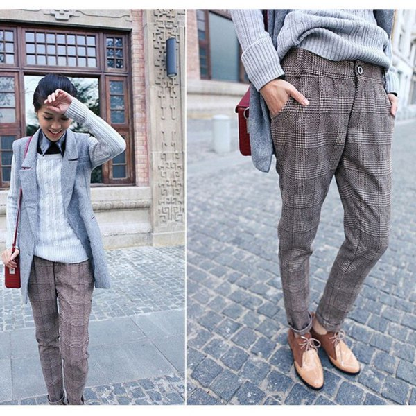 gray checkered tweed pants sleeveless blazer