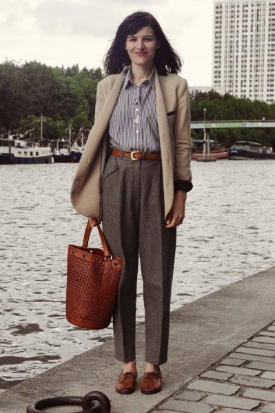 crepe wool coat gray tweed pants striped shirt