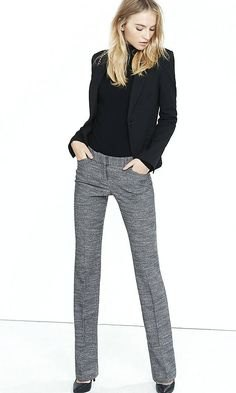 cigarette cut gray tweed pants black blazer