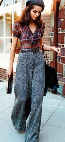 red and black checkered sweater gray tweed wide leg pants