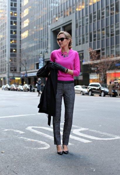 neon pink sweater gray tweed pants