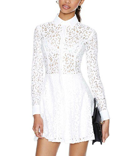 white lace button up shirt dress
