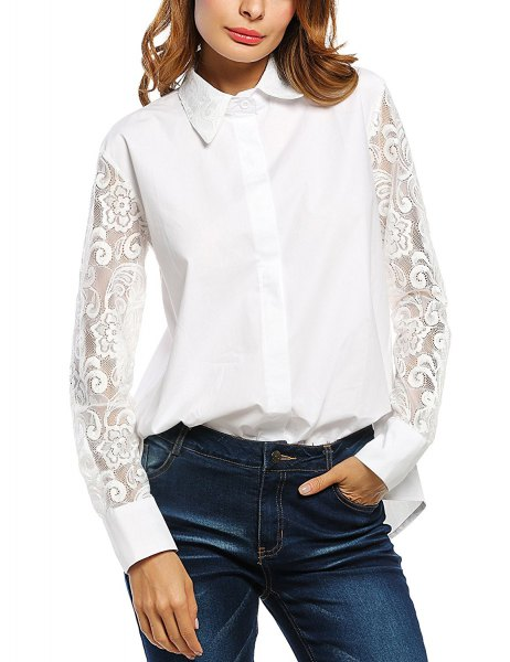 white button up shirt with lace sleeves