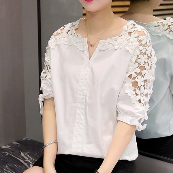 white half-heated shirt floral lace sleeves