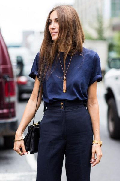 dark blue t-shirt navy blue dress pants