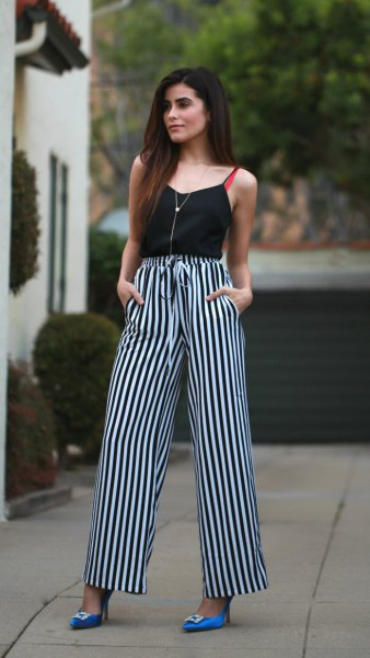 black vest top striped wide leg pants