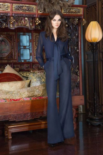 navy blue chiffon shirt that matches leggings