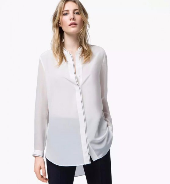 white semi-gloss rayon collarless shirt