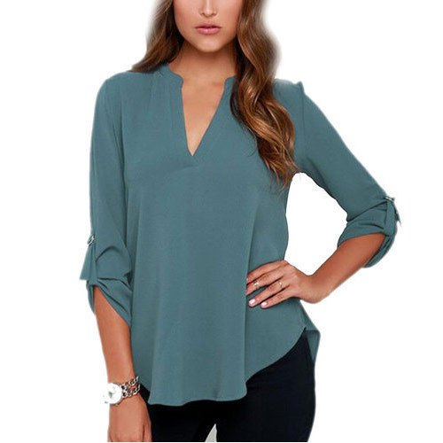 gray v-neck buttonless rayon shirt