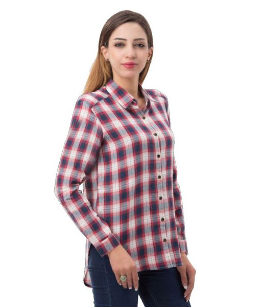 gray and white checkered boyfriend rayon shirt