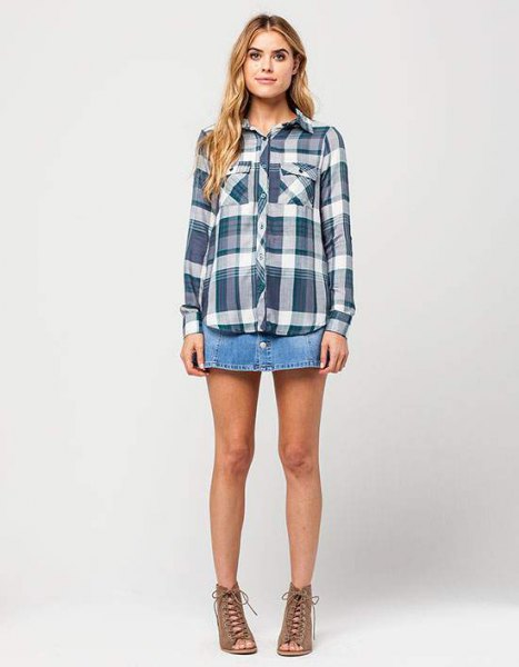gray plaid boyfriend rayon shirt denim mini skirt