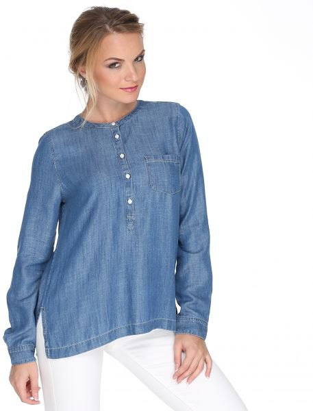 faux chambray rayon collarless shirt