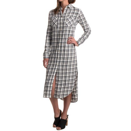 gray and white rayon plaid midi shirt dress