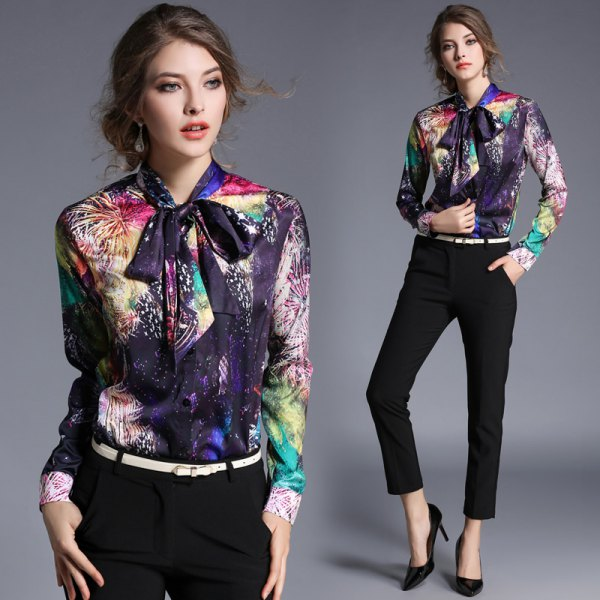 colorful floral printed ribbon bow shirt
