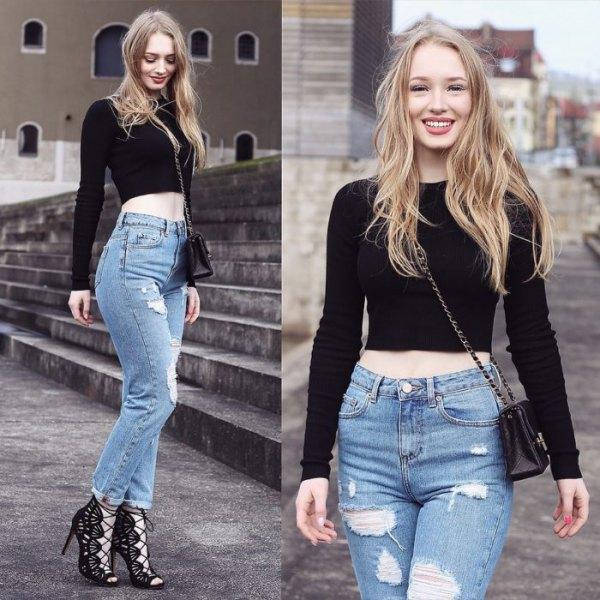black long sleeve crop top mom jeans