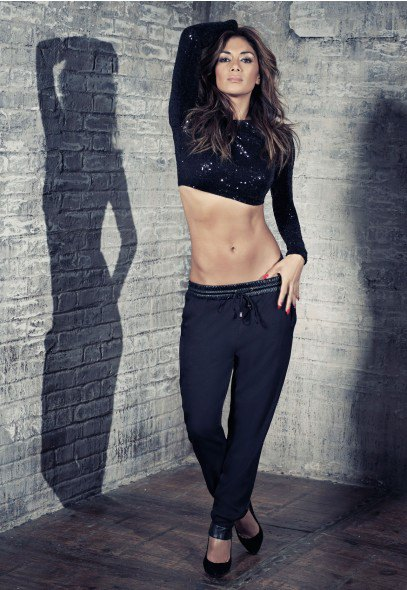 black jogger pants heels the outfit