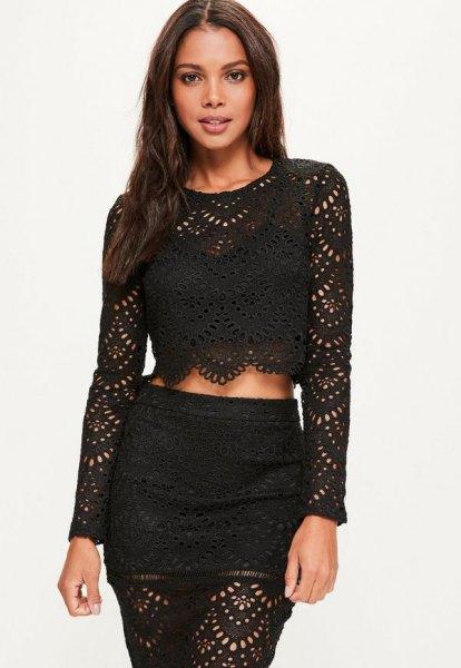 black crochet long sleeve crop top matching bodycon skirt