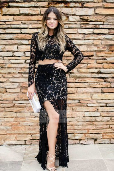 black lace with long sleeve crop top high split skirt